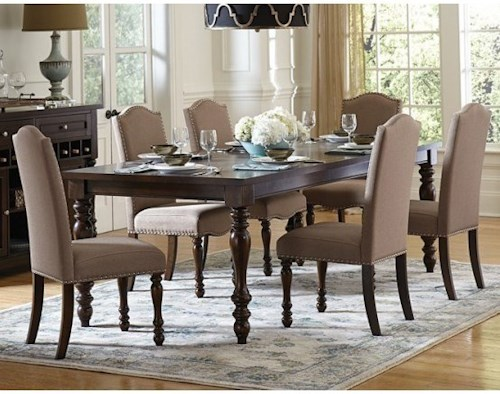 Homelegance Benwick Traditional Table And Upholstered Chair Set With Nailhead Trim On Chairs