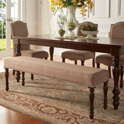 Homelegance Benwick Traditional Dining Bench with Nailhead Trim