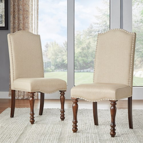 Homelegance Benwick Traditional Dining Side Chair with Nailhead Trim