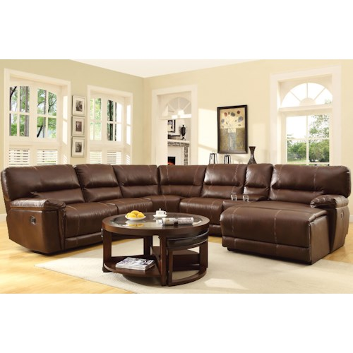 Homelegance Blythe Sectional with Reclining Chaise