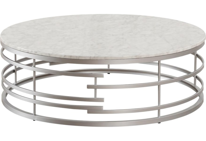 Homelegance Brassica Glam Large Round Cocktail Table With Faux Marble Top Darvin Furniture Cocktail Coffee Tables