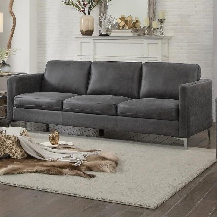 Homelegance Breaux 8235gy 3 Contemporary Sofa With Metal
