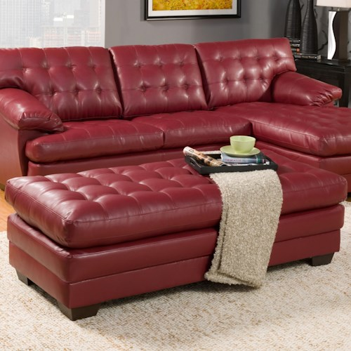 Homelegance Brooks Bonded Leather Cocktail Ottoman with Tufted Cushion