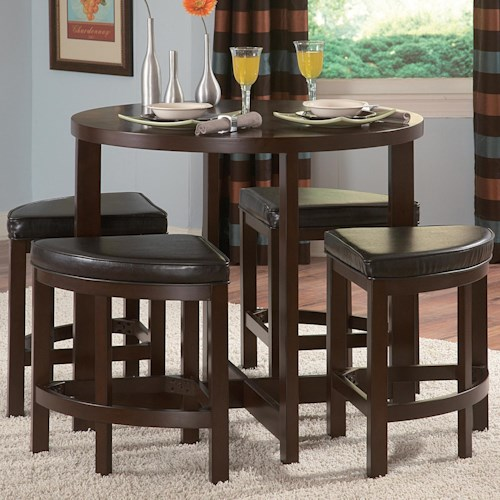Homelegance Brussel II 5 Piece Counter Height Dining Set with Geometric Configuration