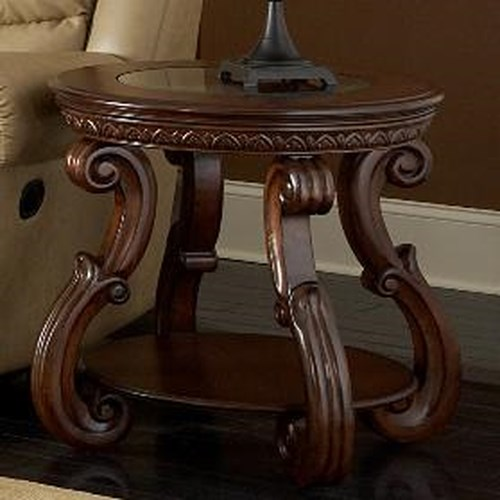 Homelegance Cavendish Traditional Round End Table with Glass Inlay