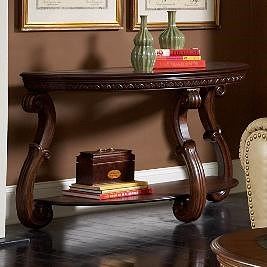 Homelegance Cavendish Traditional Warm Cherry Sofa Table with Glass Inlay