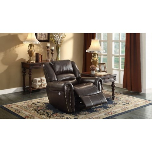 Homelegance Center Hill Traditional Gliding Power Recliner with Nailhead Trim