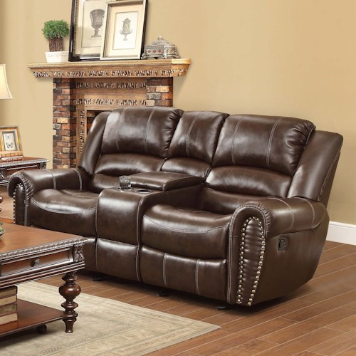 Homelegance Center Hill Traditional Reclining Loveseat With Console And Nailhead Trim Value