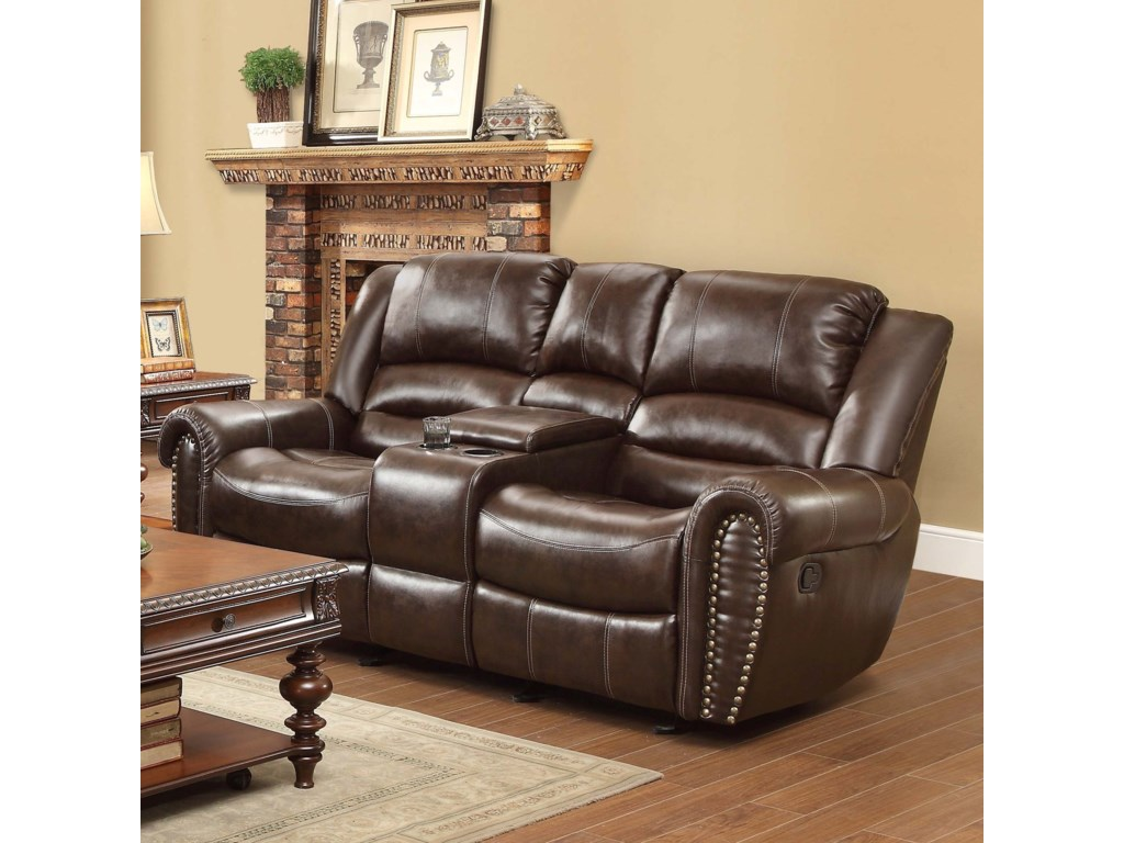 Homelegance Center Hill Traditional Reclining Loveseat With Console