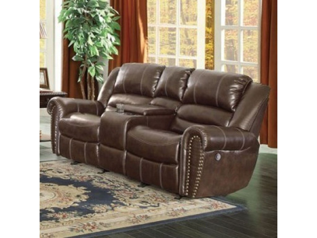 Homelegance Center Hill 9668brw 2pw Traditional Power Reclining