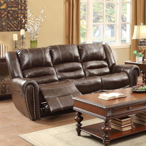 Homelegance Center Hill Traditional Reclining Sofa With Nailhead Trim