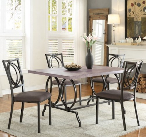 Homelegance Chama Casual Table and Chair Set with Open Design