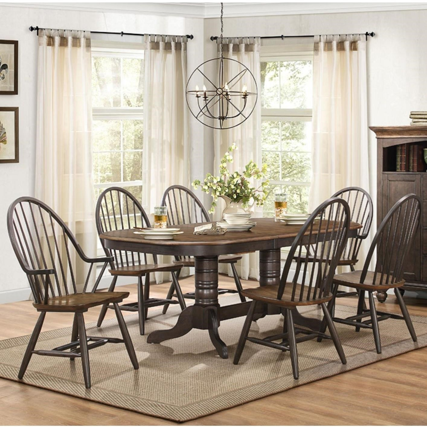Cline Transitional Dining Table And Chair Set With Two Tone Finish By  Homelegance
