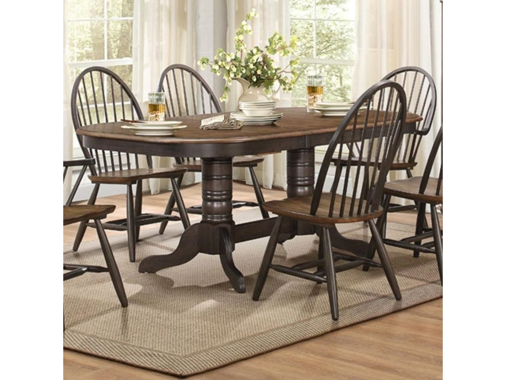 Cline Transitional Double Pedestal Dining Table with Table Leaf by Elegance  at Del Sol Furniture