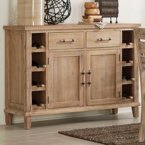 Homelegance Colmar Contemporary Server with Built In Wine Bottle Storage