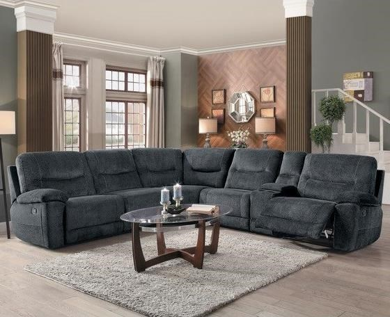Homelegance Columbus Transitional Six Piece Sectional With Storage Console