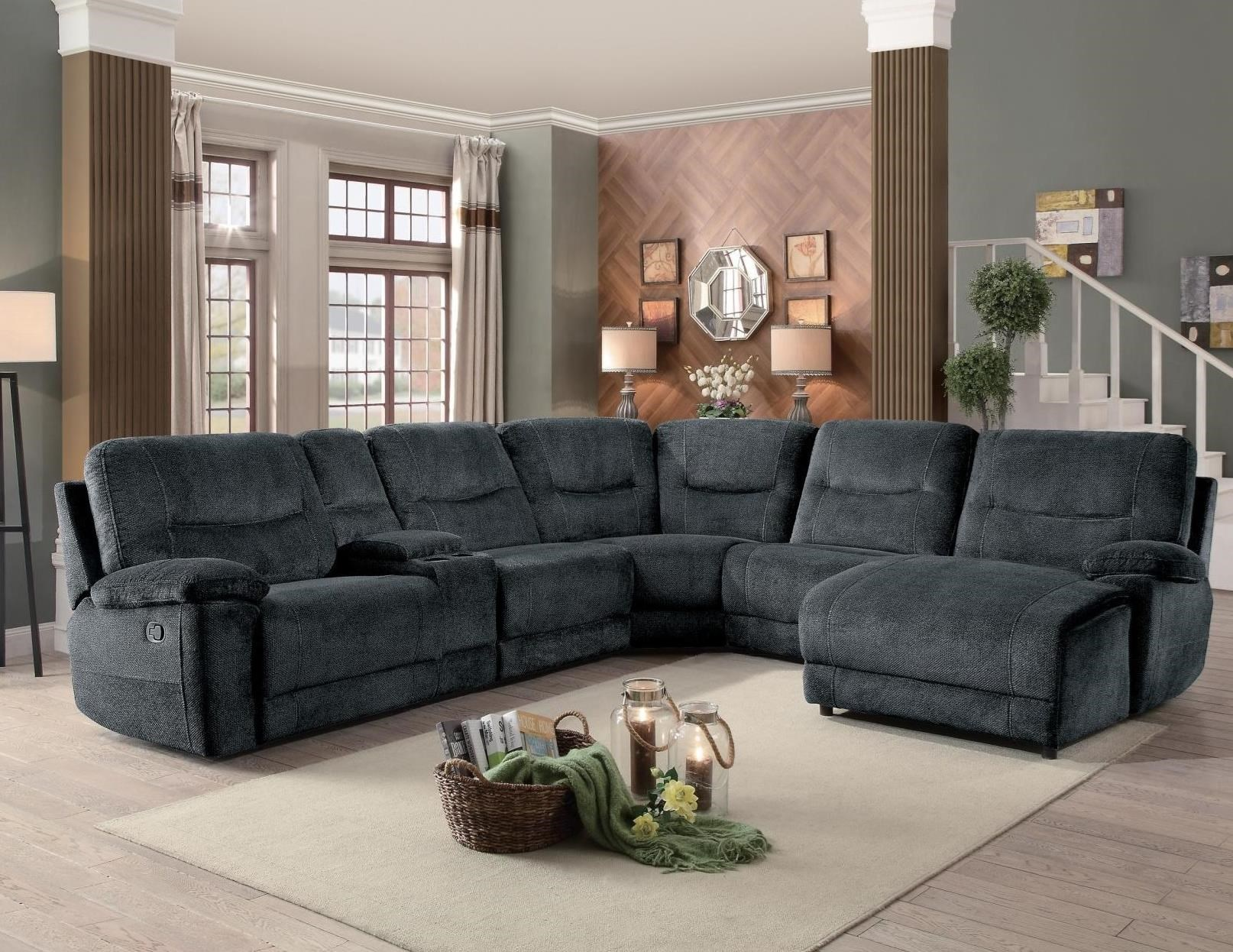 Columbus Transitional Six Piece Sectional With Reclining Chaise By  Homelegance