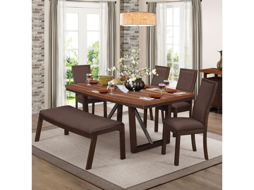 Homelegance CompsonTable and Chair Set with Bench