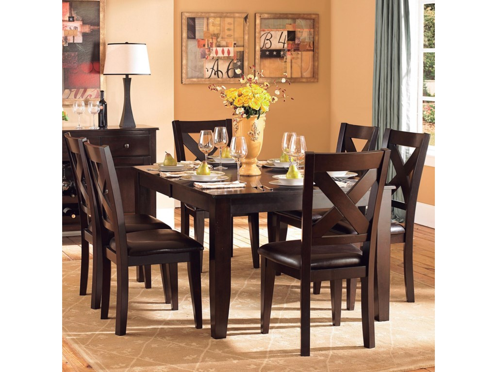 Crown point transitional formal dining table and chair set with butterfly leaf table by homelegance