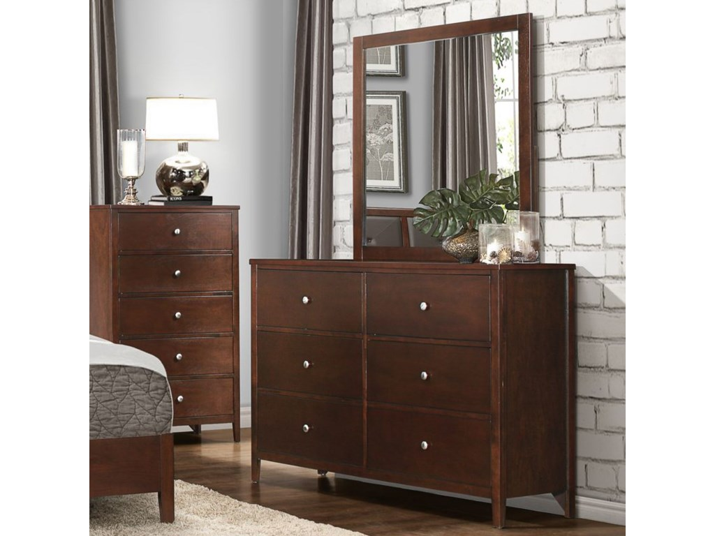 Homelegance CullenModern 6-Drawer Dresser and Mirror