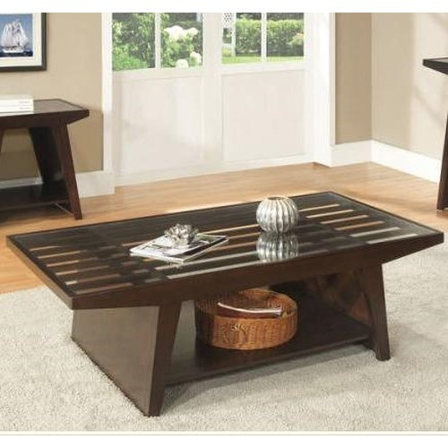 Homelegance Cullum  Contemporary Cocktail Table w/ Glass Top