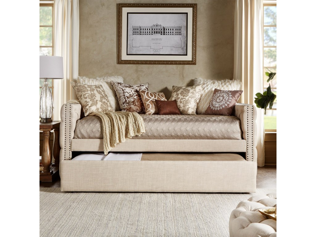 08a5f64491e9 Daybeds Traditional Beige Linen Upholstered Daybed with Trundle by  Homelegance