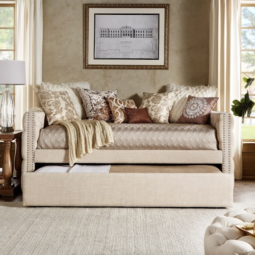 Homelegance Daybeds Traditional Beige Linen Upholstered Daybed With Trundle