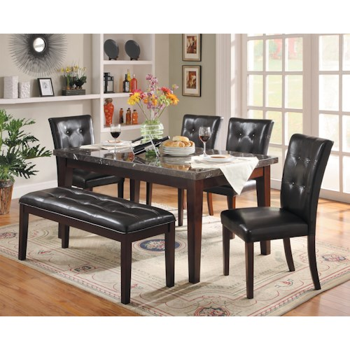 Homelegance Decatur 6 Piece Dining Set with Marble Tabletop and Upholstered Dining Bench