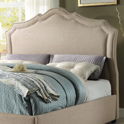 Homelegance Delphine Transitional Full Upholstered Headboard with Nailhead Trim