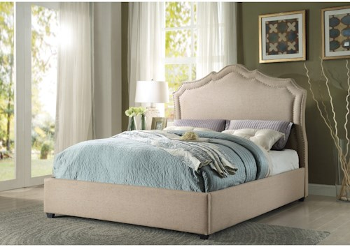 Homelegance Delphine Transitional Queen Low Profile Bed with Nailhead Trim Headboard