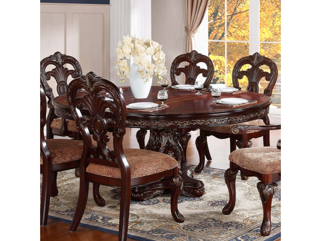 Deryn Park Traditional Round Dining Table With Pedestal Base By Homelegance