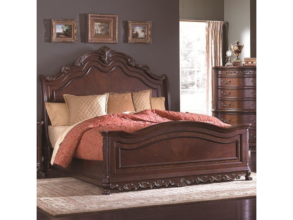 Homelegance Deryn Park Traditional Queen Sleigh Bed With Ornate
