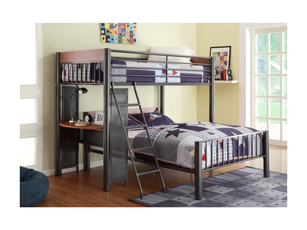 Division Contemporary Twin Over Full Loft Bed W Desk By Homelegance
