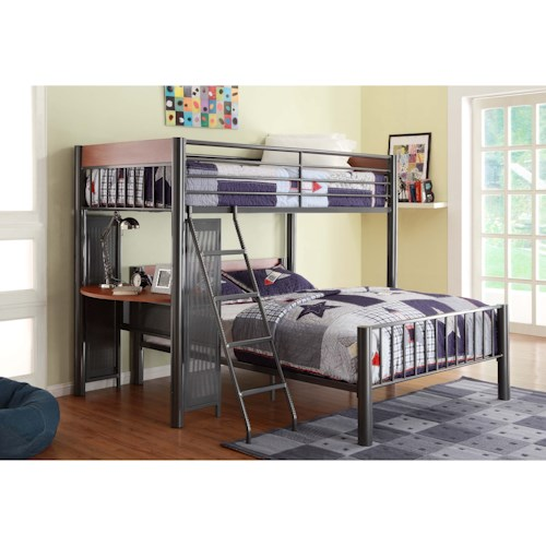 Homelegance Division Contemporary Twin Over Full Loft Bed W Desk