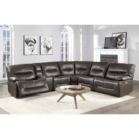 6 Piece Brown Power Sectional