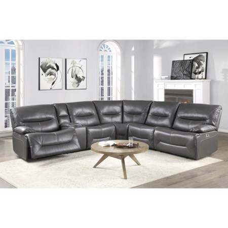 6 Piece Grey Power Sectional