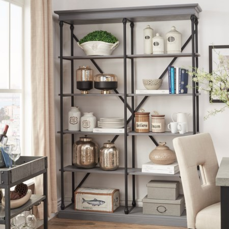 X-Back Open Bookcase with Metal Frame