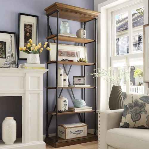 Homelegance E296 Open Bookcase with Metal Frame