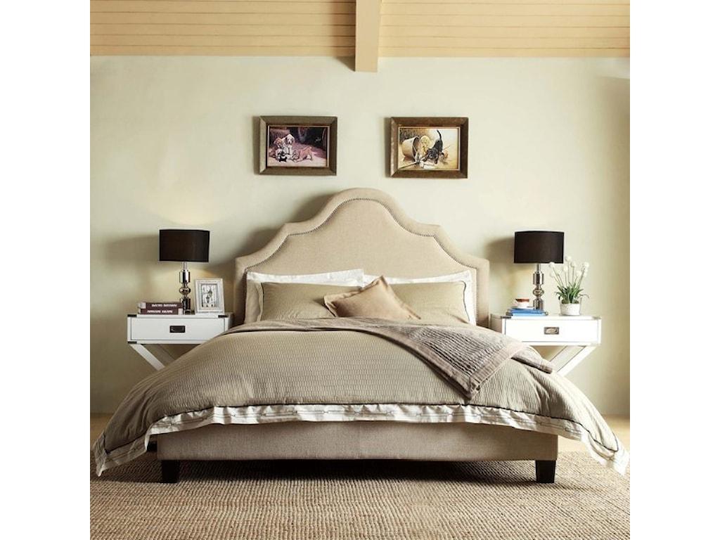 Homelegance E377 BeigeQueen Upholstered Bed