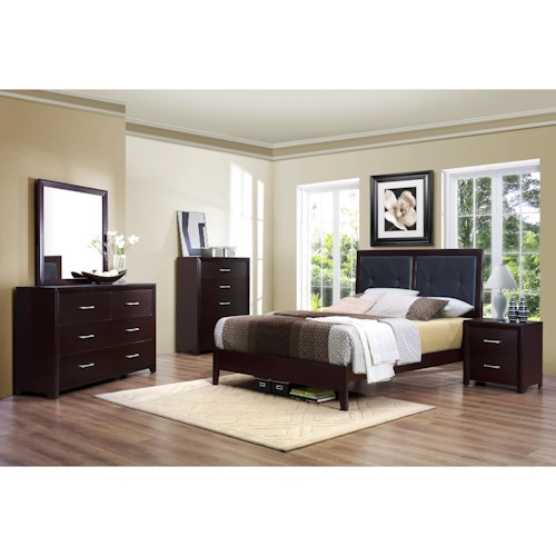 Homelegance Edina Contemporary Queen Bedroom Group without Chest