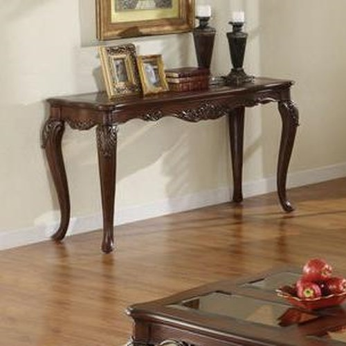 Homelegance Ella Martin Acanthus Leaf Sofa Table with Smoked Glass Insert