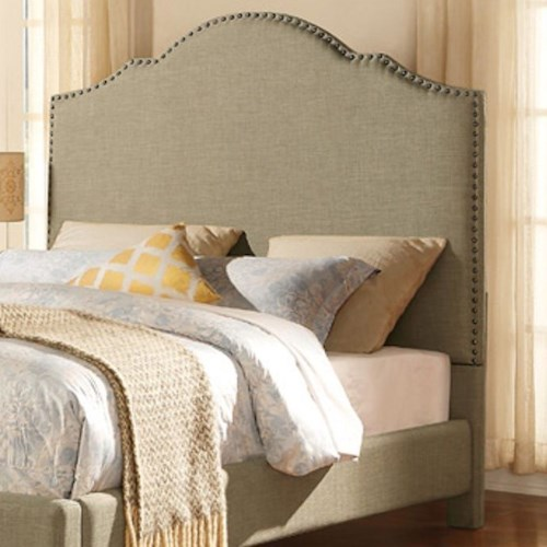 Homelegance Ember Contemporary Queen Upholstered Headboard with Nailhead Trim