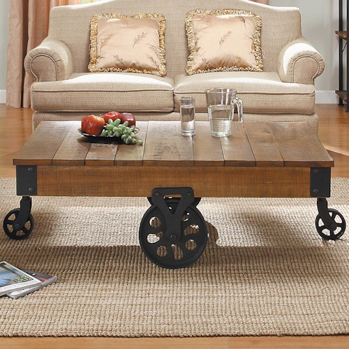 Homelegance Factory Collection Cocktail Table with Wheels