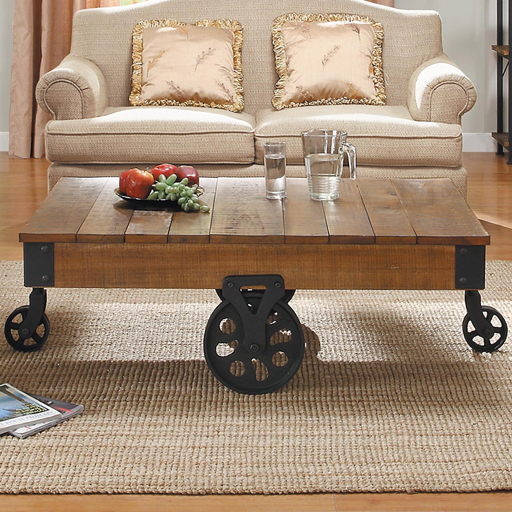 Homelegance Factory Collection Cocktail Table With Wheels   Darvin  Furniture   Cocktail Or Coffee Table