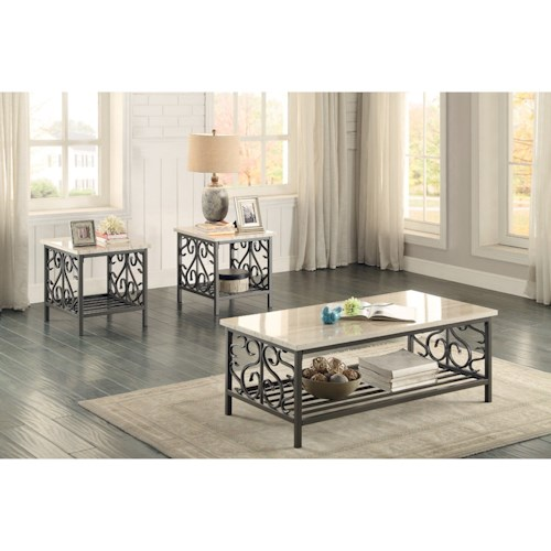 Homelegance Fairhope Transitional 3Pc Occasional Table Group with Faux Marble Tops