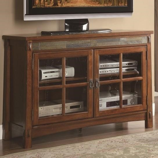 Homelegance Falls 8077 T Tv Stand With Slate Insert And Glass Doors