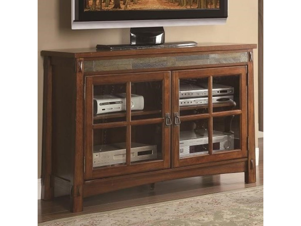 Falls TV Stand with Slate Insert and Glass Doors by Homelegance at Value  City Furniture