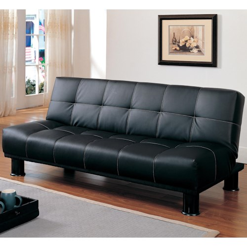 Homelegance Fruitvale Black Click Clack Futon with Contrast Stitching