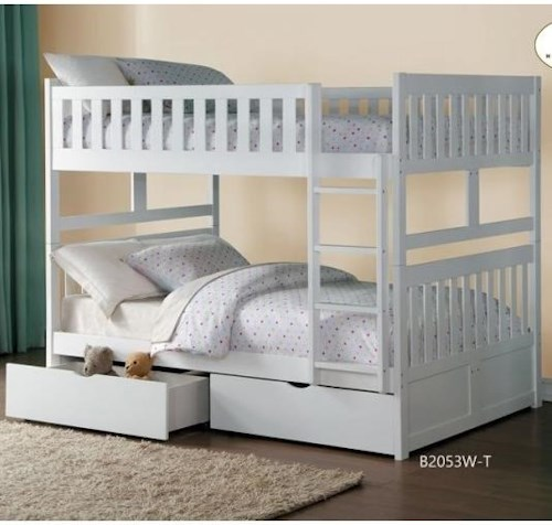 Homelegance Galen Full Over Full Bunk Bed with Storage Drawers