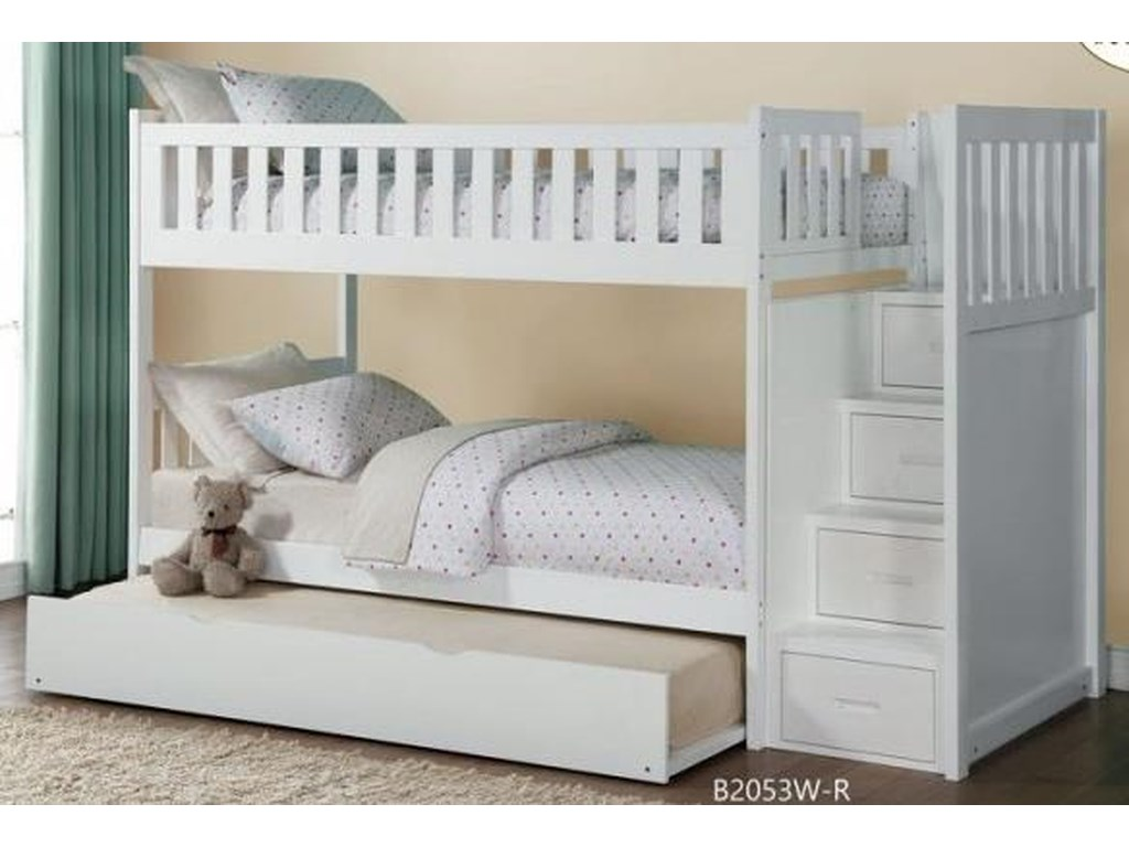 Twin Over Twin Bunk Bed With Trundle And Stairs